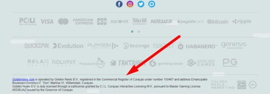 example of placing a gambling license of the online casino Golden Reels